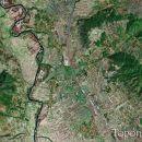 Satelitski snimak sela Gornja Toponica. U ovom selu se nalazi najpoznatija ludnica u Srbij