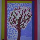 cvetoče drevo,potiskano s prstki