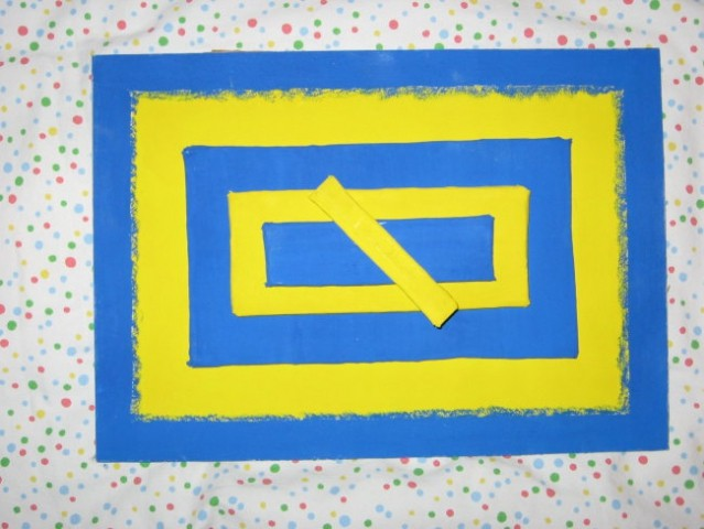 Plasti kartonov, preoblečeni v blago, tempera (modro-rumeno)
