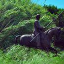 konjenik na sredini rondoja