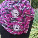 Pleten bombažni šal, ročno izdelan, z ročno izdelanimi gumbki - po naročilu