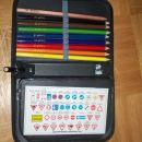 Peresnica s kompletom suhih barvic+radirko+ravnilom+minicama za nalivno pero