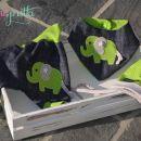 Komplet slonček, baggy hlačke, rutka-slinček in kapica