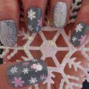 Samolepilne nalepke za nohte snežinke - Nail Art