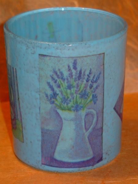 čajna lučka z motivi sivke, frost efekt