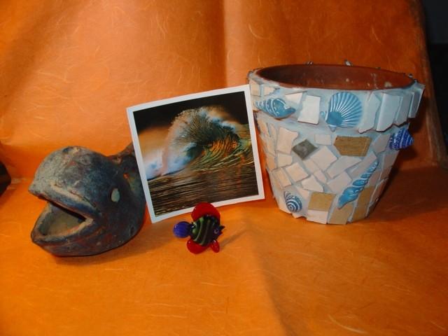 Mediteran swap - dobila od mice (lonček za rože, mozaično obdelan s keramičnimi ploščicami