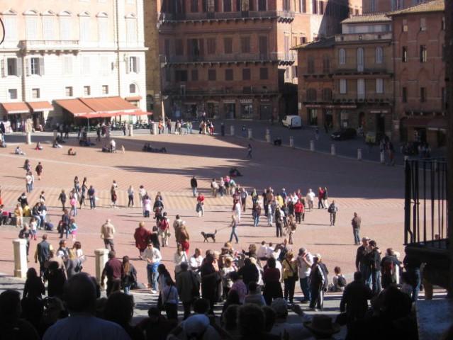 Trg Piazza del Campo v Sieni, gotsko-renesančnem mestu obdanem z olivnimi nasadi, ki leži