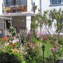 Vrt in v ozadju veranda, kjer lahko jeste, pijete kavo ter za verando vhod v kuhinjo, kate