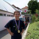 Še en spominček na zadnjo tekmo za Bežigradom, ki mi bo zaradi zlate medalje ostala v lepe