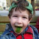 Marsovec z zelenim jezikom? Ne, le Miha, ki je polizal sladoled.